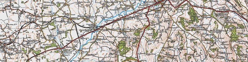 Old map of Gittisham in 1919