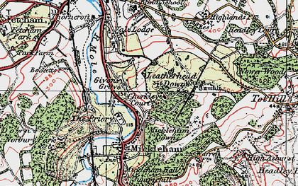 Old map of Leatherhead Downs in 1920