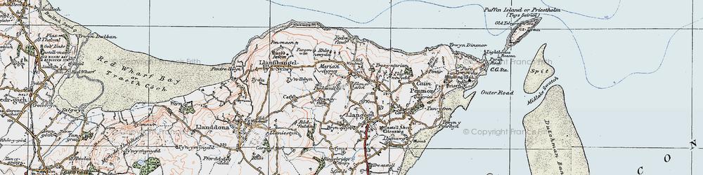 Old map of Bryn Ddol in 1922