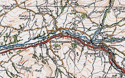 Old map of Glanaman in 1923