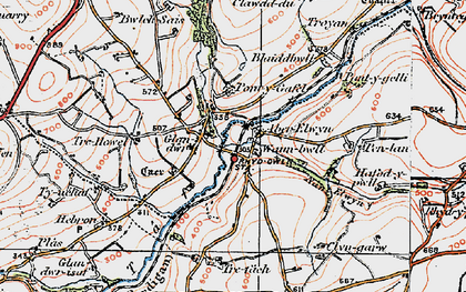 Old map of Aberelwyn in 1922