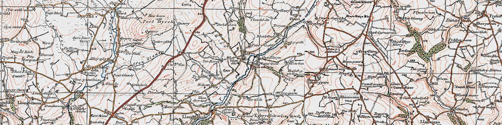 Old map of Aberelwyn in 1922