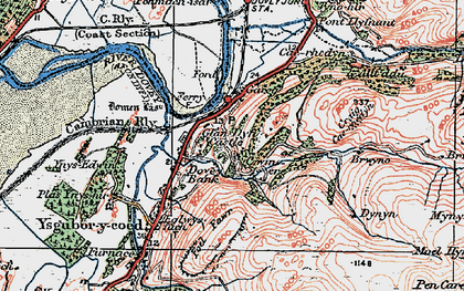 Old map of Glandyfi in 1921
