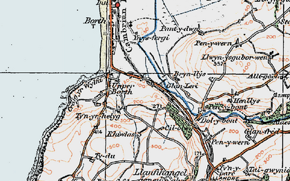 Old map of Ynysfergi in 1922