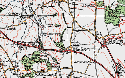 Old map of Glapwell in 1923