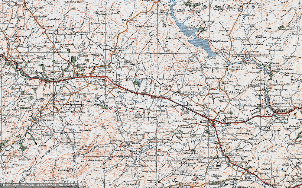 Old Map of Historic Map covering Afon Llaethog in 1922