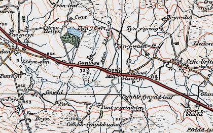Old map of Afon Llaethog in 1922