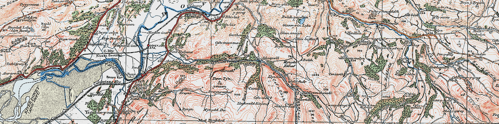 Old map of Glaspwll in 1921