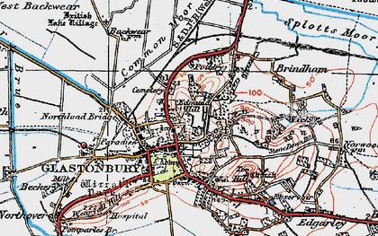 Old map of Glastonbury in 1919