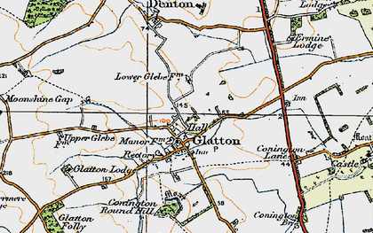 Old map of Glatton in 1920
