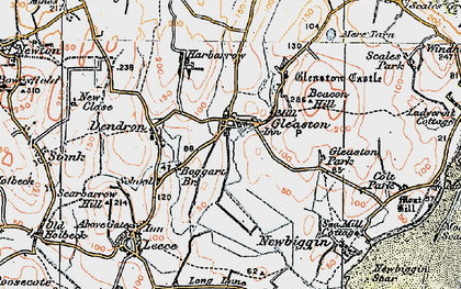 Old map of Gleaston in 1924
