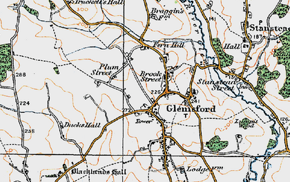 Old map of Glemsford in 1921