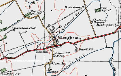 Old map of Glentham in 1923