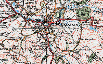 Old map of Glossop in 1923