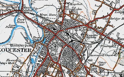 Old map of Gloucester in 1919