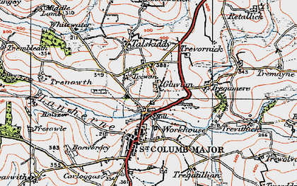 Old map of Gluvian in 1919