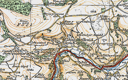 Old map of Glyn Ceiriog in 1921