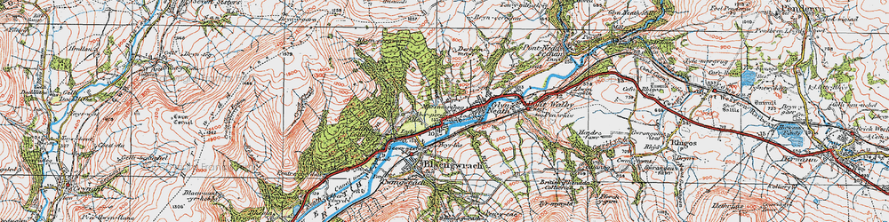 Old map of Glyn-neath in 1923