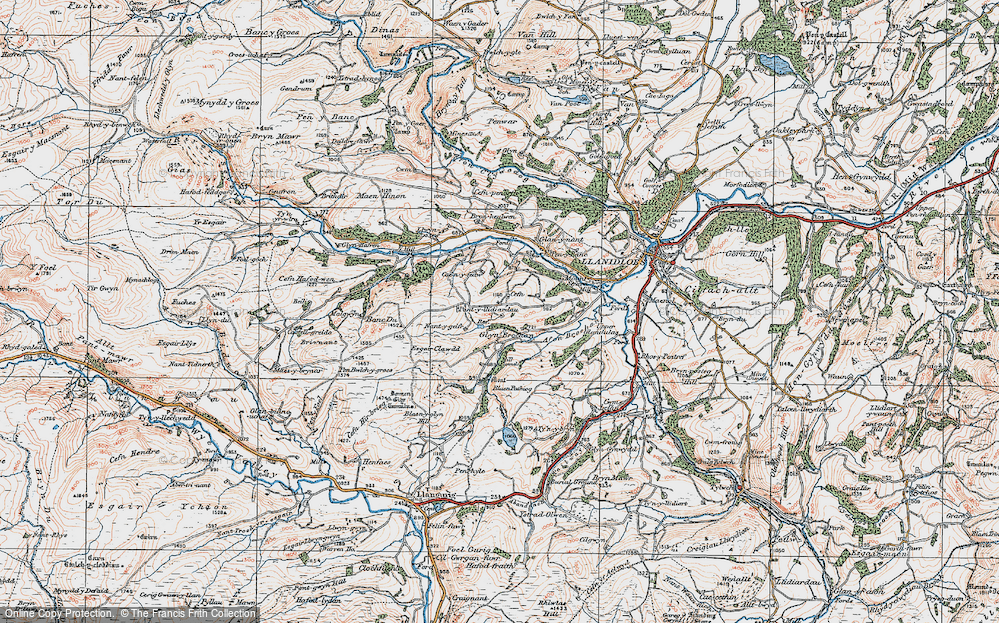 Old Map of Historic Map covering Afon Brochan in 1922