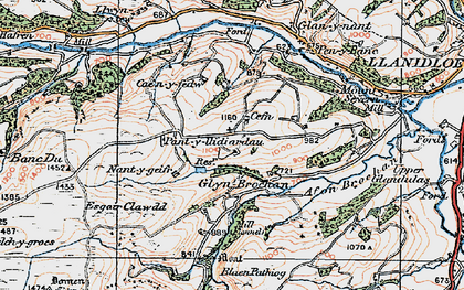 Old map of Afon Brochan in 1922