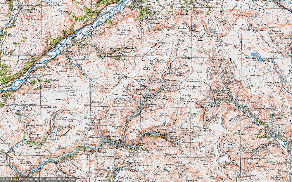 Old Map of Historic Map covering Afon Corrwg Fechan in 1923