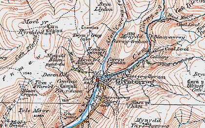 Old map of Afon Corrwg Fechan in 1923