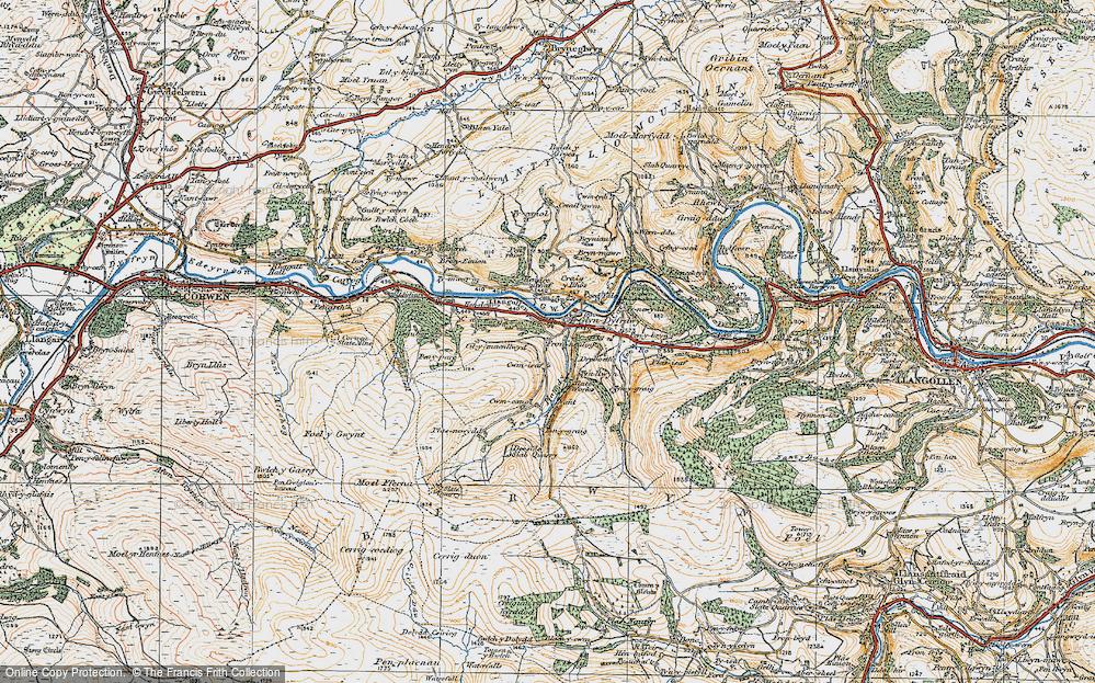 Old Map of Glyndyfrdwy, 1921 in 1921