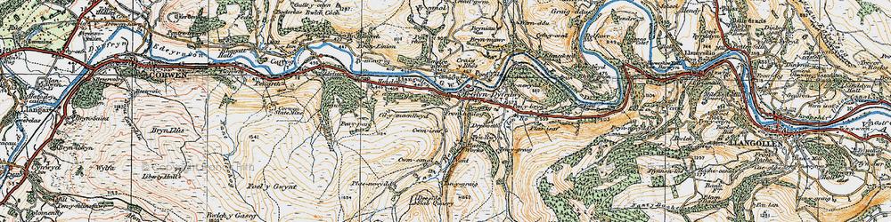 Old map of Glyndyfrdwy in 1921