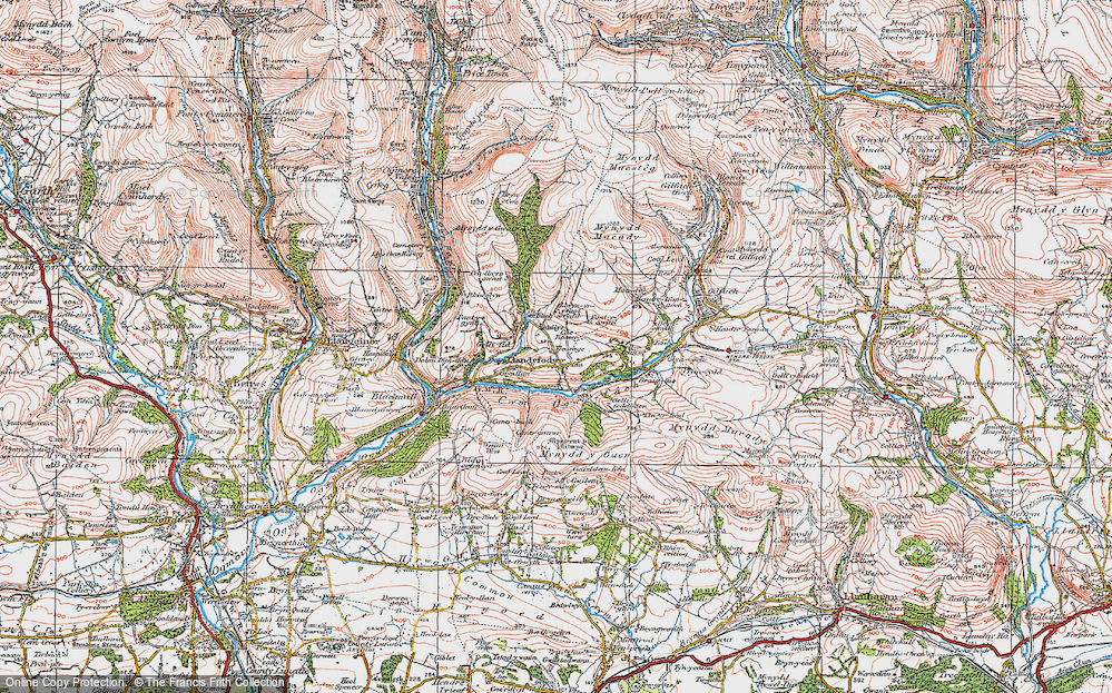Old Map of Glynogwr, 1922 in 1922
