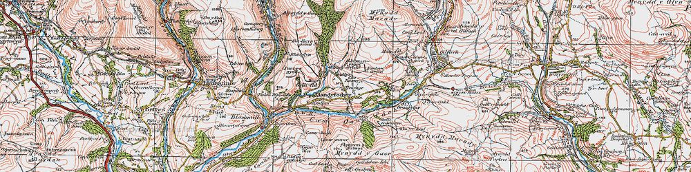 Old map of Glynogwr in 1922