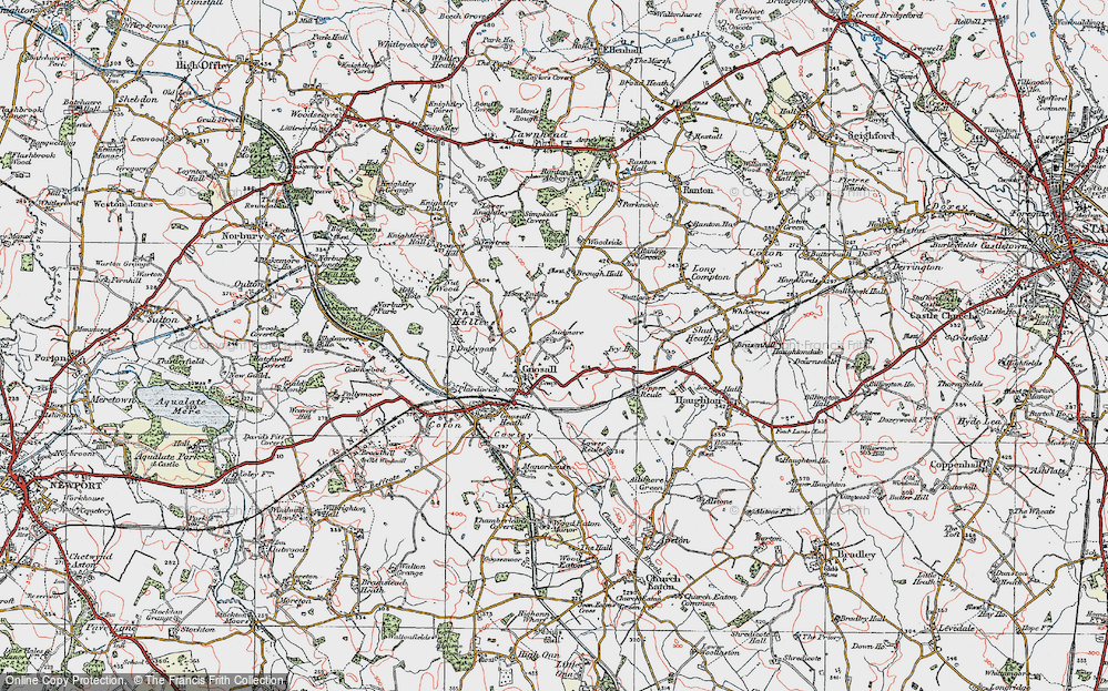 Old Map of Historic Map covering Audmore in 1921
