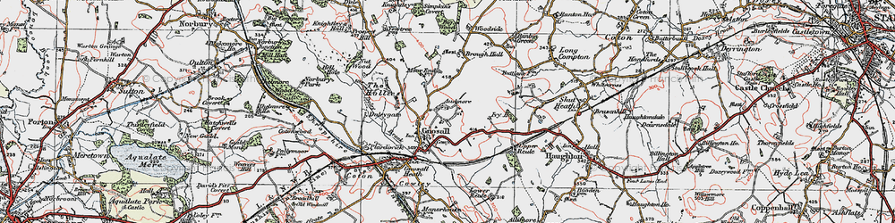 Old map of Gnosall in 1921