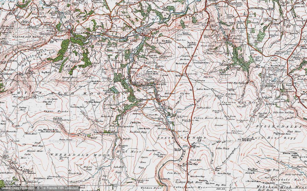 Old Map of Historic Map covering Abbot's Ho in 1925
