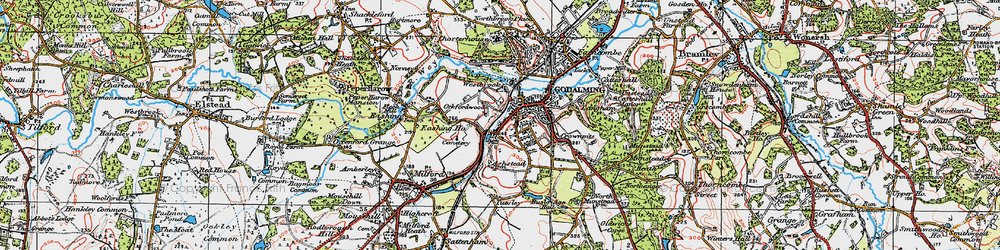 Old map of Godalming in 1920