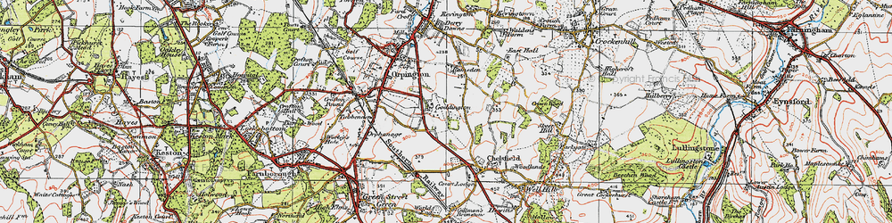 Old map of Woodlands in 1920