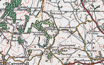 Old map of Whitehurst in 1921