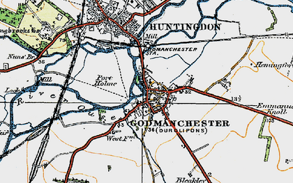 Old map of Godmanchester in 1919