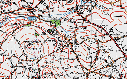 Old map of Godolphin Cross in 1919
