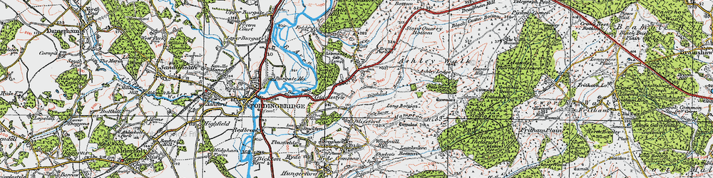 Old map of Godshill in 1919