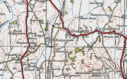 Old map of Bagwich in 1919