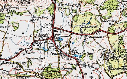 Old map of Godstone in 1920
