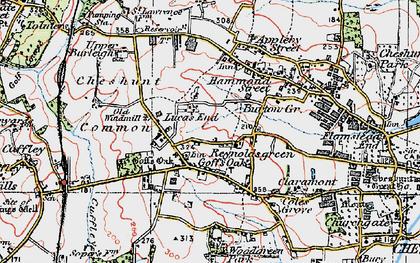 Old map of Goff's Oak in 1920