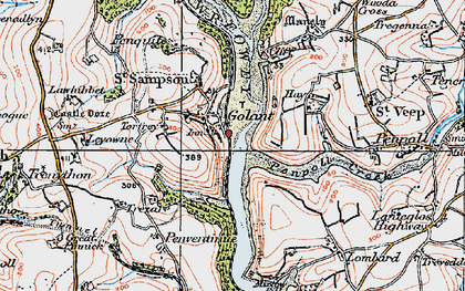 Old map of Golant in 1919