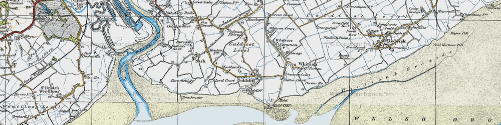 Old map of Goldcliff in 1919