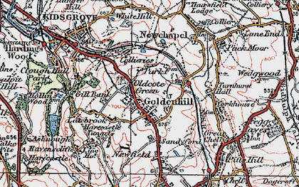 Old map of Goldenhill in 1921