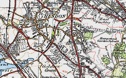 Old map of Golders Green in 1920