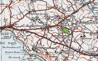Old map of Goldsithney in 1919