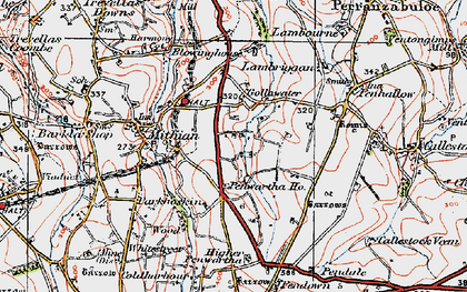 Old map of Gollawater in 1919