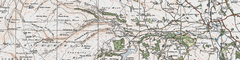 Old map of Agra Crags in 1925