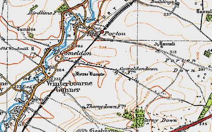 Old map of Gomeldon in 1919